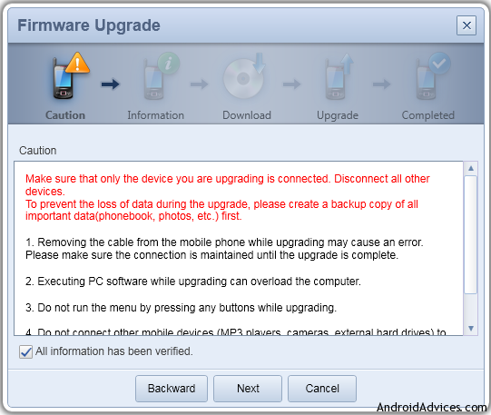 Firmware Upgrade Caution Message