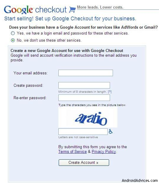Google checkout registration