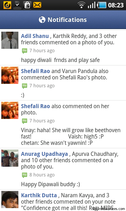 facebook for android notifications