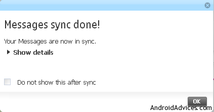 message sync done