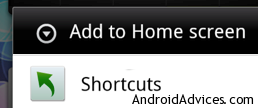Shortcuts in Home Screen