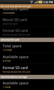 SD Crd and Phone Storage Details