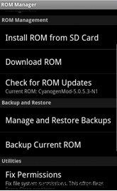ROM Manager backup Restore