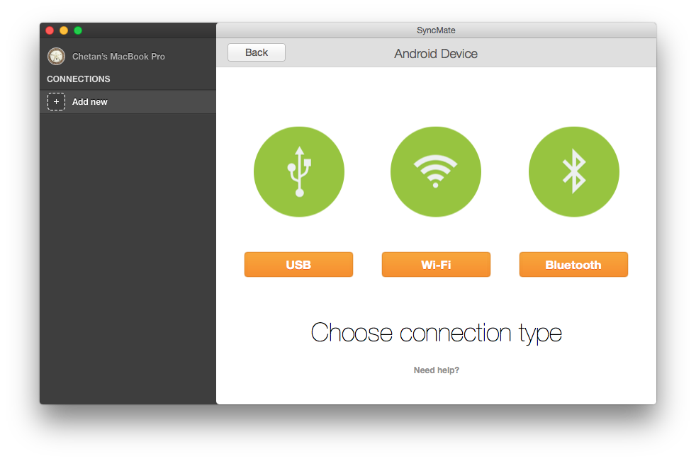 SyncMate Choose Connection