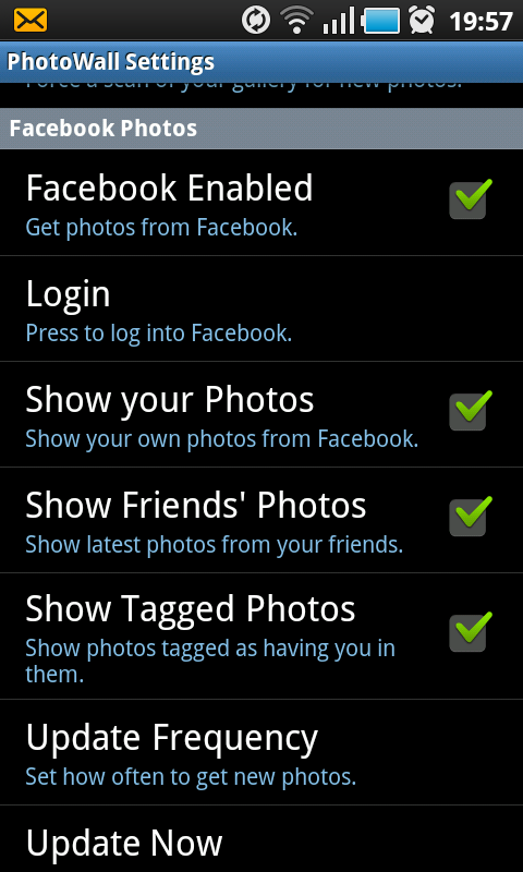 android photowall facebook settings