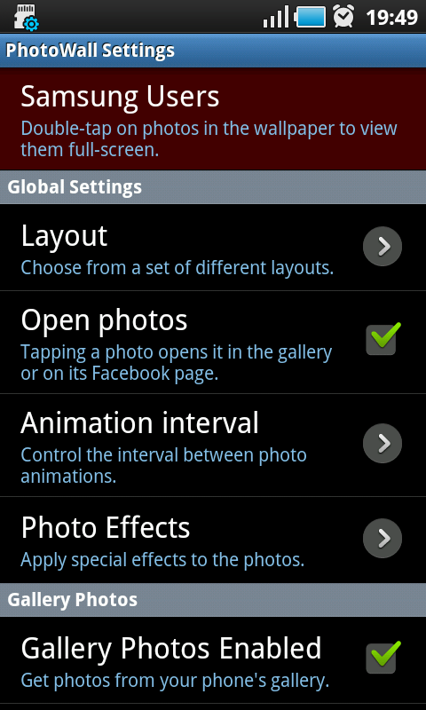 android photowall settings