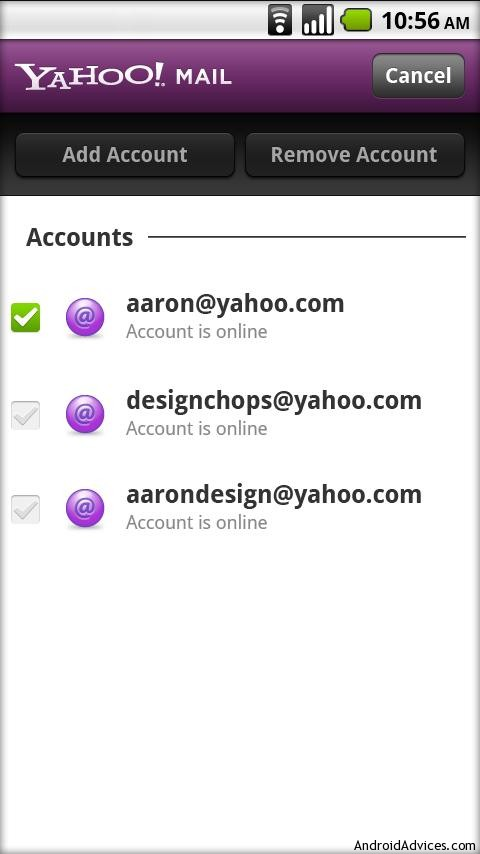 yahoo mail app for android multiple accounts