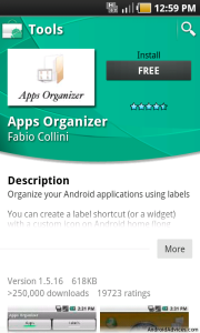 Apps Organizer in Market Place