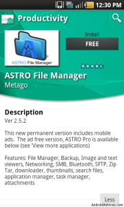 Astro File Manager in Market Place