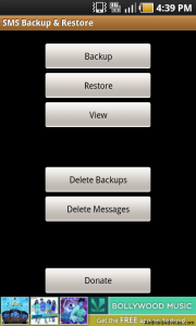 Home screen of SMS Backup and Restore