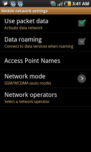 Mobile Network Settings