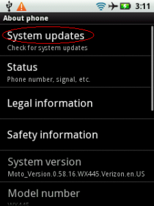 System Updates Droid Pro