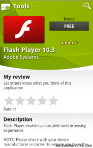 Adobe Flash 10.3 in MarketPlace