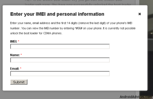 Enter IMEI and Personal Details