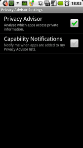 Privacy Advisor Settings