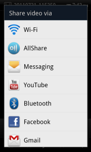 Share Photo Video Options Bluetooth