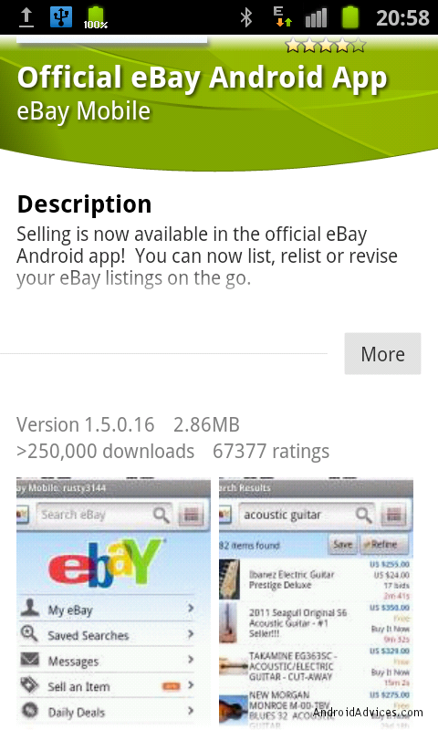 android market app page