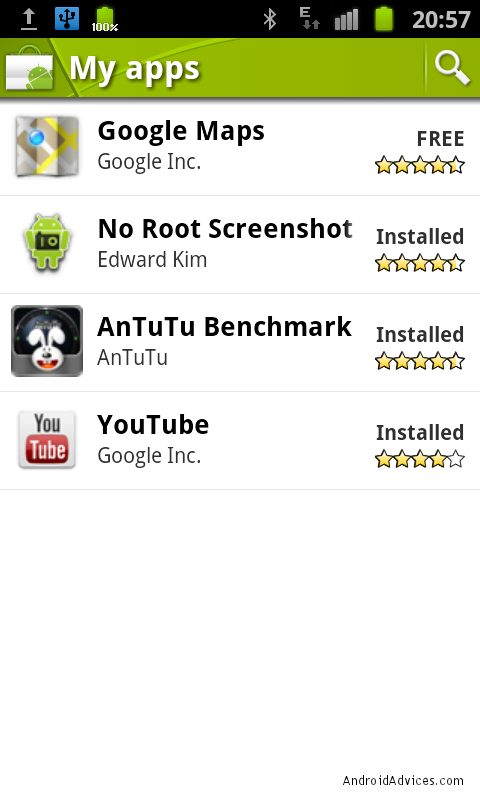 android market my apps page