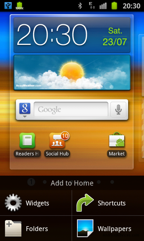 samsung galaxy s ii homescreen menu