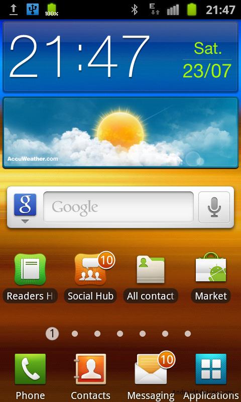 samsung galaxy s ii homescreen