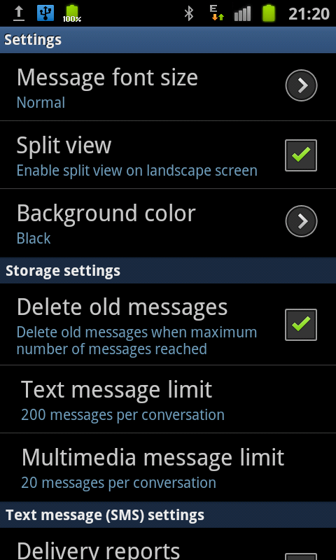 samsung galaxy s ii messaging setting