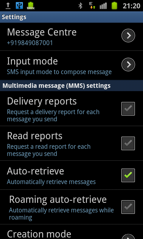 samsung galaxy s ii messaging settings