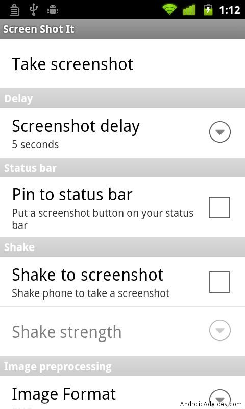 screenshot it settings