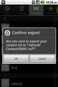 Manage Contactd Export