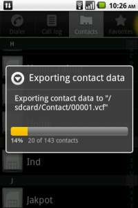 Manage Contacts Exporting