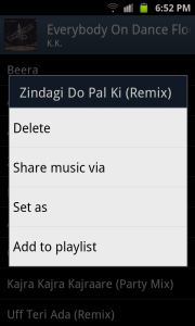 Share music option