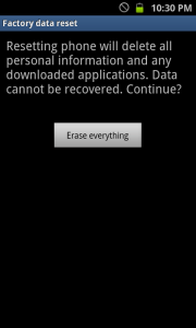Android Erase Everything Reset