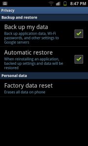 Android Privacy Data Reset