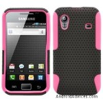 Black Pink 2 in 1 Hybrid Rubber Plastic Skin Case Cover