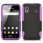 Black Purple 2 in 1 Hybrid Rubber Plastic Skin Case Cover