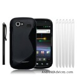 CURVE GEL CASE - BLACK, WITH 6 SCREEN PROTECTORS & 1 STYLUS