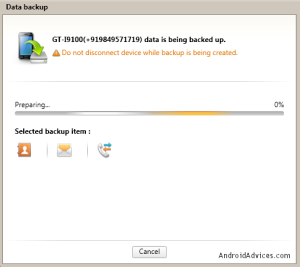 Galaxy S2 I9100 Data Backup Progress