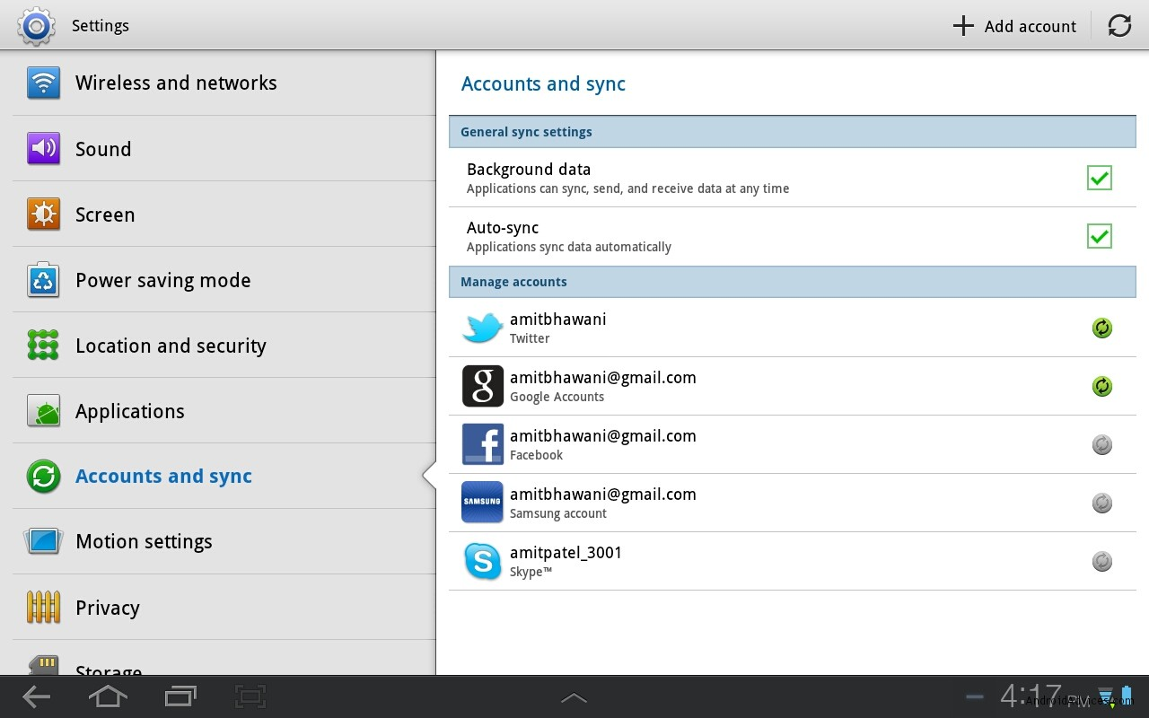 Galaxy Tab Account & Sync