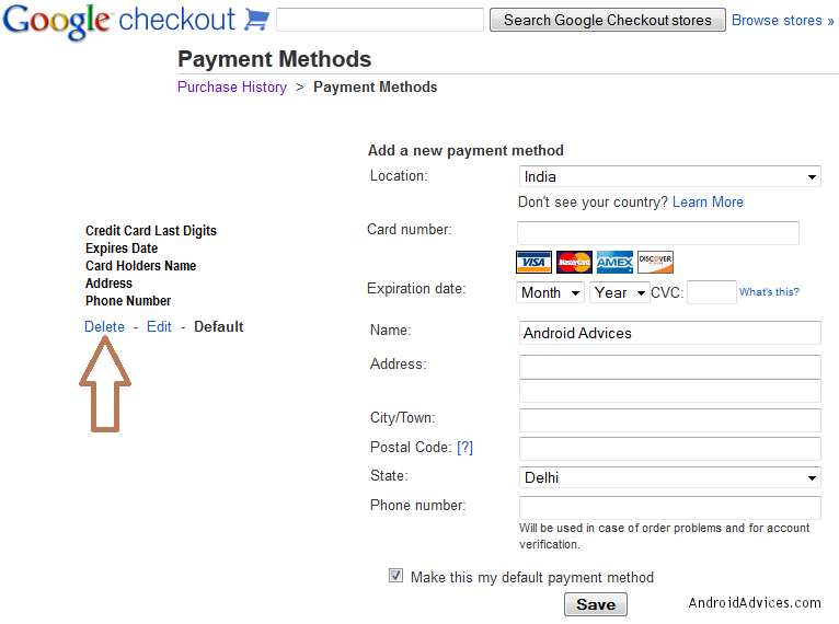 Google Checkout Remove Credit Card