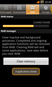 Ice cream Sandwich Candy RAM Status