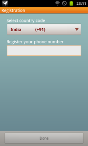 Select Country and Phone number
