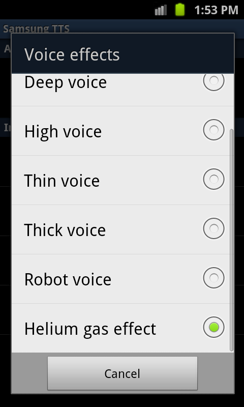Settings Text to Speech