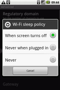 Wi-Fi Sleep Policy