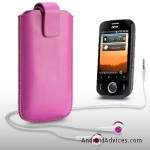 PINK PU LEATHER POCKET POUCH COVER CASE WITH HEADSET
