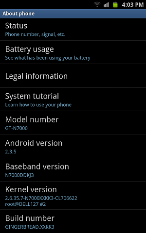 samsung galaxy note about android