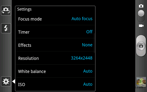 samsung galaxy note camera options