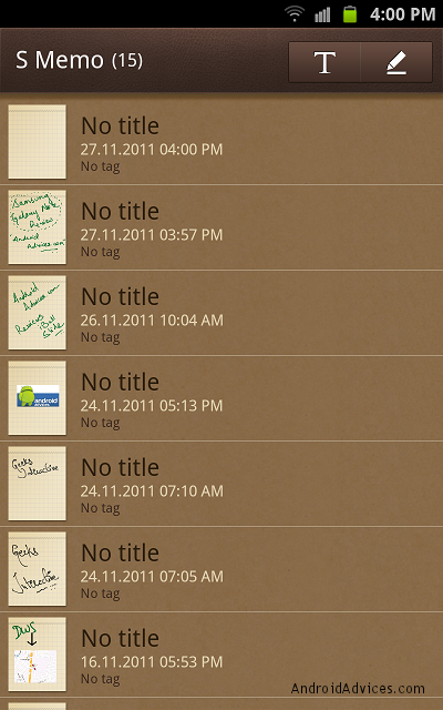samsung galaxy note s memo list view
