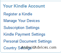 Manage Kindle Account