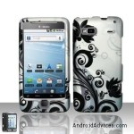 Silver Black Flower Snap on Hard Shell Cover Protector