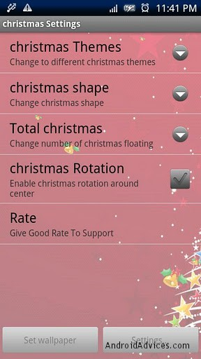 christmas live wallpaper pro setting