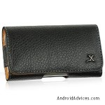 Premium Executive Black Horizontal Leather Pouch case